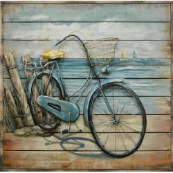 Tableau métal Vélo à la plage 80x80 FOND BOIS EN RELIEF