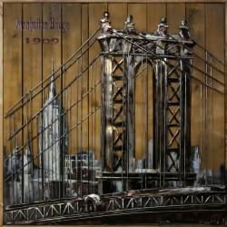 Tableau métal Brooklin Bridge 100x100 FOND BOIS EN 3 D