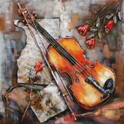 Tableau métal Le violon et la rose 40x40 EN 3 D