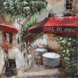 Tableau métal Café de Paris 40x40 EN RELIEF