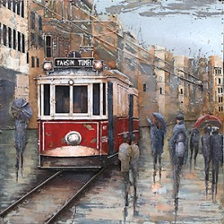 Tableau métal Tramway à Lisbonne 60x60