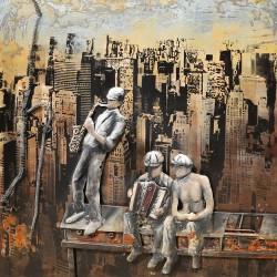 Tableau métal Vue d un gratte ciel New York 60x60 EN RELIEF