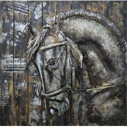 Talbeau métal cheval de manege 60x60 FOND BOIS EN RELIEF